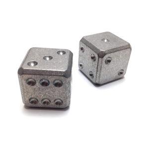 Flytanium Cuboid Large Titanium D6 Dice Set (2) – Stonewash