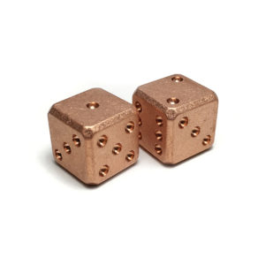 Flytanium FLY009, Cuboid Large Copper D6 Dice Set (2) – Stonewash