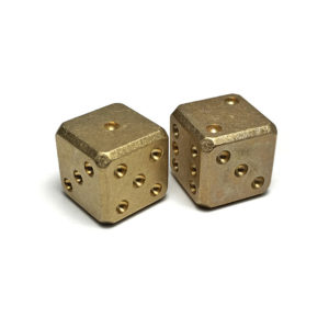 Flytanium FLY008, Cuboid Large Brass D6 Dice Set (2) – Stonewash