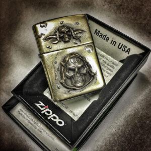 Bastinelli  Zippo with GD Skulls Silver & Bronze