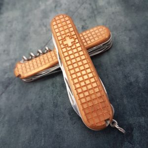 Swiss Bianco Copper Scales for 91mm Victorinox Swiss Knives, Waffle Pattern