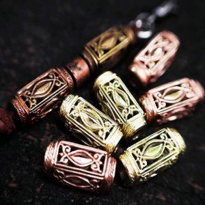 Santi's Beads, Tube 'Stair Pillar', Brass