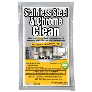 Flitz Stainless Steel & Chrome Cleaner with Degreaser, Single Towelette